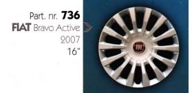 """Borchia copri ruota per FIAT BRAVO 2007 misura 16"""" Copricerchi Copriruota"""